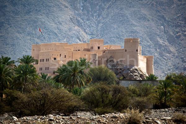 Erőd Omán hegyek építészet trópusi forró Stock fotó © lightpoet