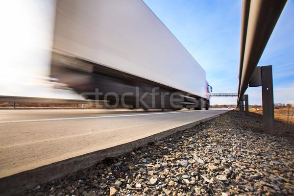 Teherautó vám kapu autópálya mozgás elmosódott Stock fotó © lightpoet