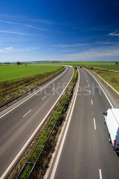 Foto stock: Rodovia · tráfego · ensolarado · verão · dia · negócio
