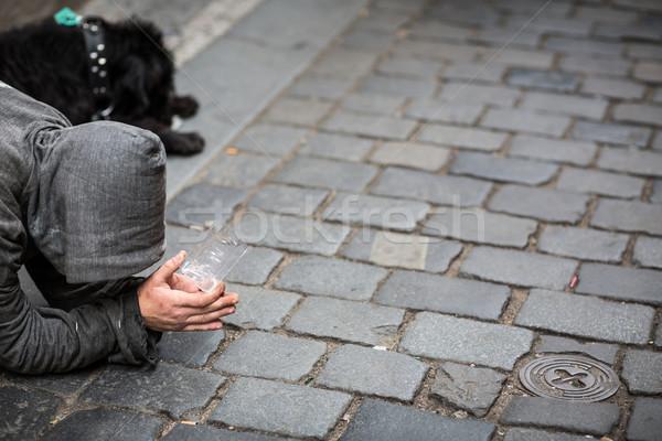 Sokak para el köpek adam tek başına Stok fotoğraf © lightpoet