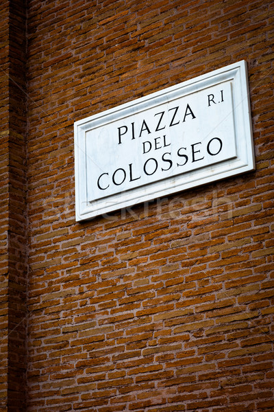 Piazza del Colosseo - detail of a street plate near Colosseum Stock photo © lightpoet