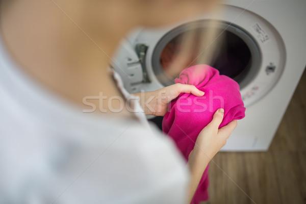 Lavori di casa lavanderia colorato lavatrice Foto d'archivio © lightpoet