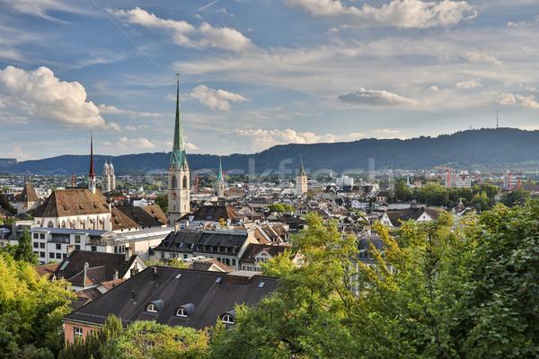 Zürih şehir ünlü kilise Stok fotoğraf © lightpoet