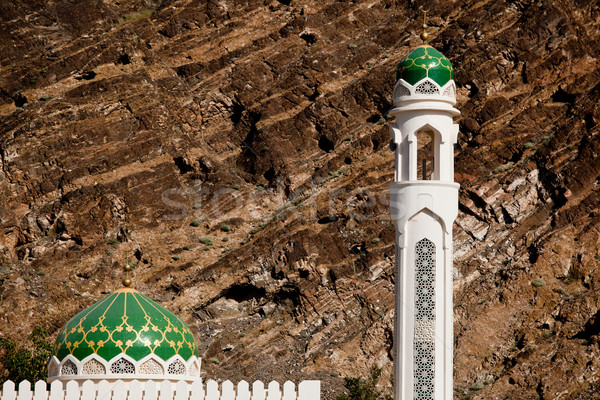 White mosque with minaret against rocky background Stock photo © lightpoet