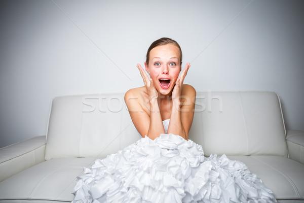 Szuper izgatott káprázatos menyasszony szeretet haj Stock fotó © lightpoet