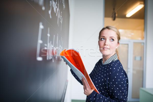 Mooie jonge schrijven schoolbord math Stockfoto © lightpoet
