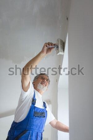 シニア 画家 男 作業 ペンキのバケツ 壁 ストックフォト © lightpoet