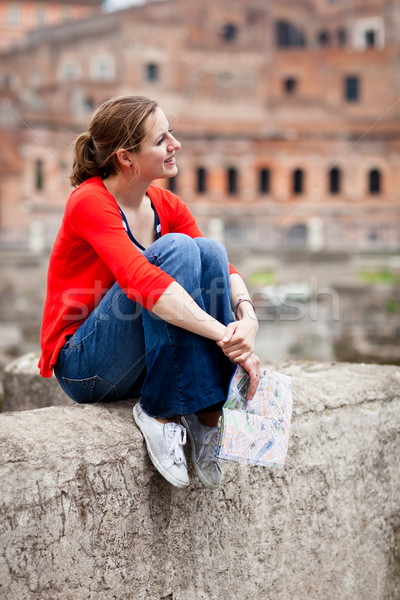 Portrait of a pretty, young, female tourist in Rome, Italy Stock photo © lightpoet