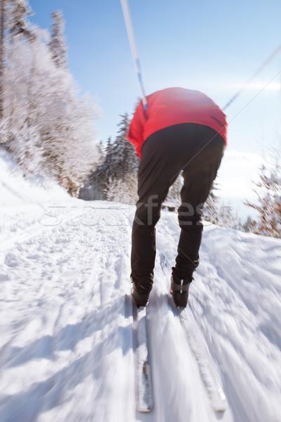 Kayakçılık genç güneşli kış gün spor Stok fotoğraf © lightpoet