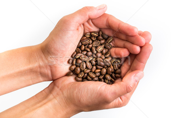 Stock photo: Young woman's hands holding coffee beans