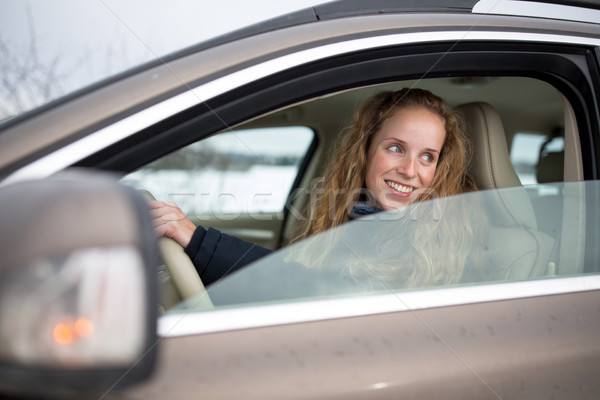 Mooie jonge vrouw rijden ondiep Stockfoto © lightpoet