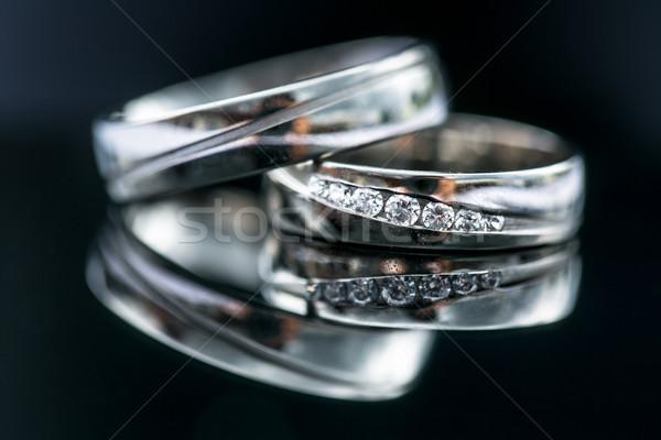 Wedding day details - two lovely golden wedding rings Stock photo © lightpoet