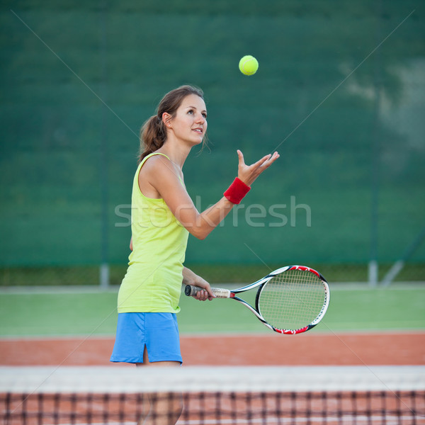 Stock fotó: Csinos · fiatal · női · teniszező · teniszpálya · sekély