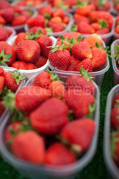 farmers market series - fresh strawberries  Stock photo © lightpoet