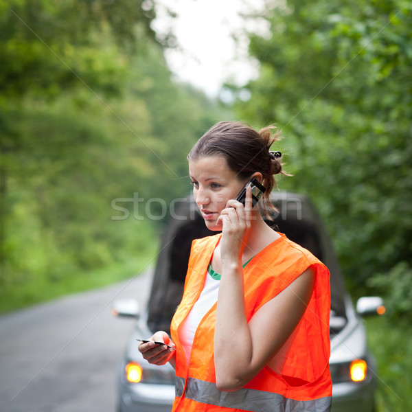 Young female driver calling the roadside service Stock photo © lightpoet