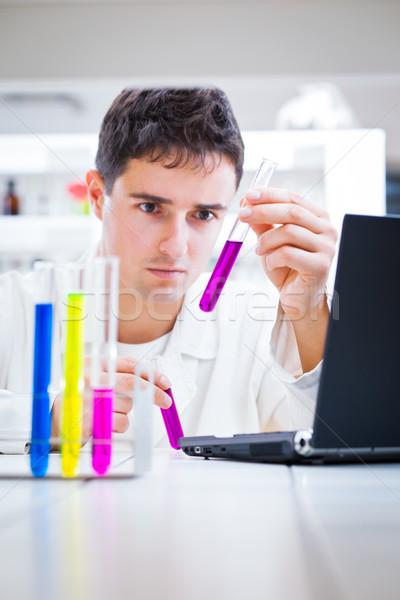 Stockfoto: Portret · jonge · mannelijke · onderzoeker