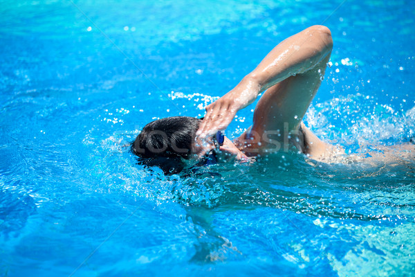 Young man swimming the front crawl/freestyle in a pool Stock photo © lightpoet