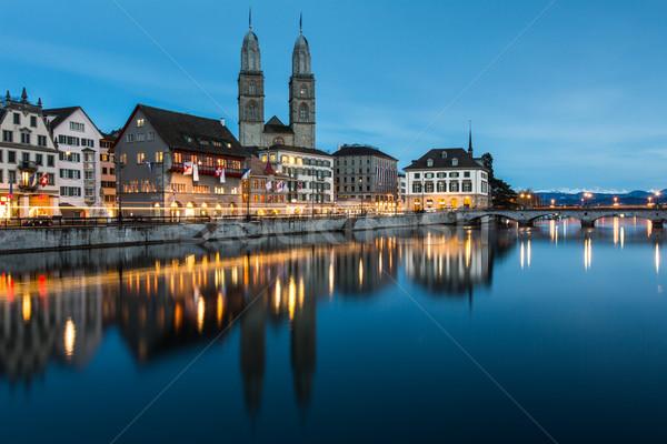 Zürih Cityscape saat manzara yaz kilise Stok fotoğraf © lightpoet