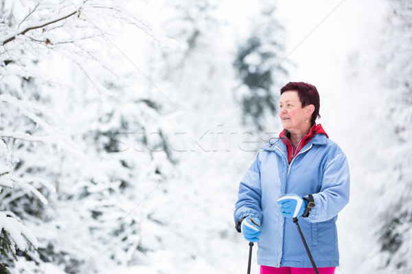 Cross-country skiing: two women cross-country skiing  Stock photo © lightpoet