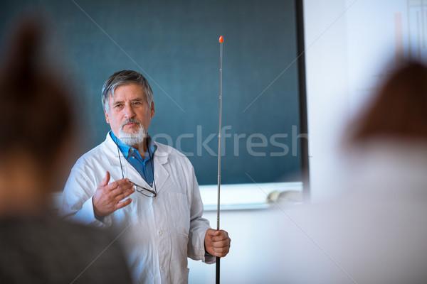 старший химии профессор лекция классе полный Сток-фото © lightpoet