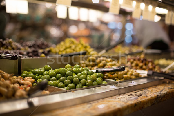 Olives on sale/display in a food market/grocery store Stock photo © lightpoet