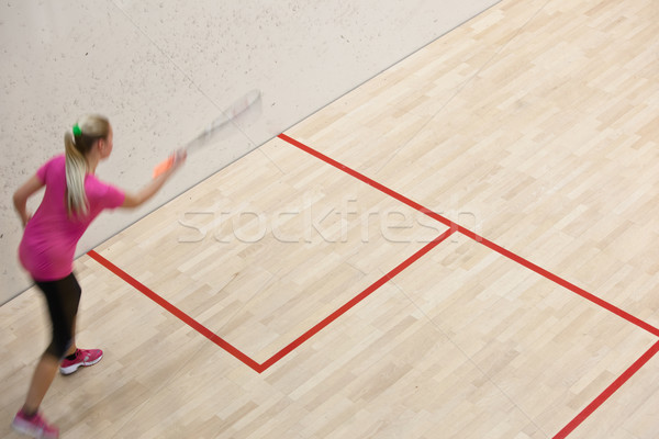 Two female squash players in fast action on a squash court Stock photo © lightpoet