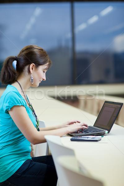 ストックフォト: かなり · 小さな · 女性 · 学生 · ノートパソコン · 大学