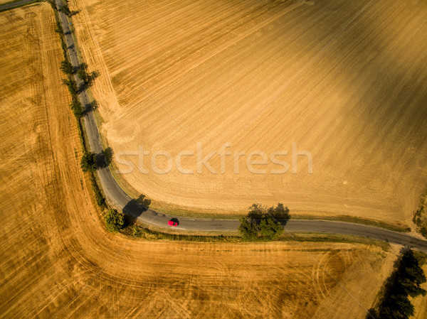 Aerial view of a country road amid fields with a red car Stock photo © lightpoet