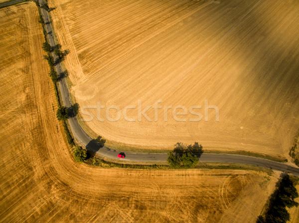 полях красный автомобилей дерево Сток-фото © lightpoet