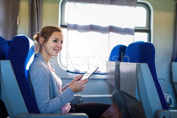 Сток-фото: поезд · компьютер · девушки