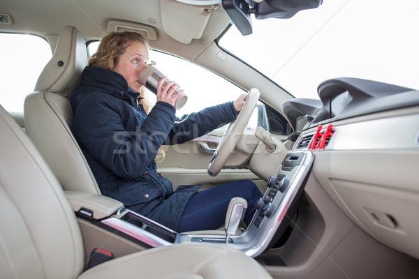 Woman driving a car - female driver at a wheel of a modern car,  Stock photo © lightpoet