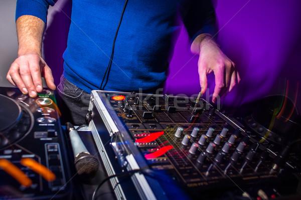 рук музыку смеситель вечеринка играет цвета Сток-фото © lightpoet