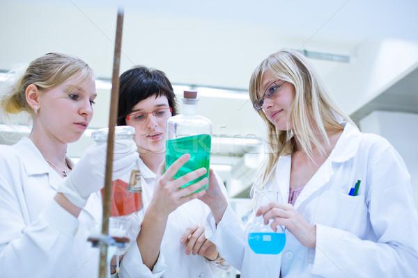Foto stock: Femenino · investigador · fuera · investigación · química