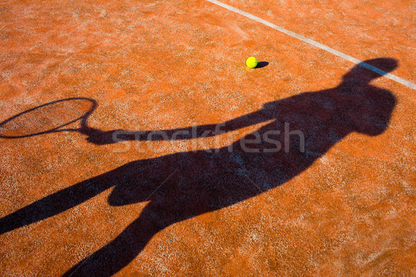 Shadow of a tennis player in action on a tennis court (conceptua Stock photo © lightpoet