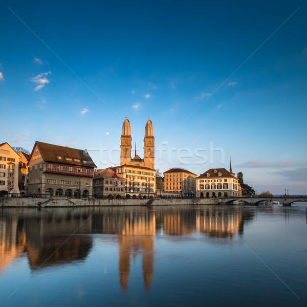Zürih İsviçre görmek kilise gökyüzü ev Stok fotoğraf © lightpoet