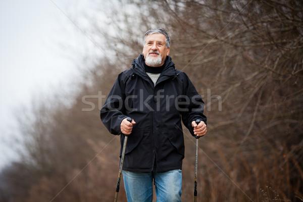 Senior man nordic walking Stock photo © lightpoet