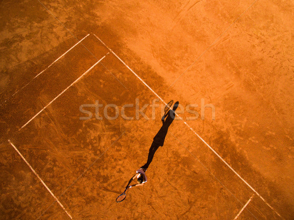 Aerial shot of a female tennis player on a court during match  Stock photo © lightpoet