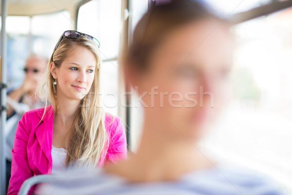 Güzel genç kadın çalışmak renk görüntü sığ Stok fotoğraf © lightpoet