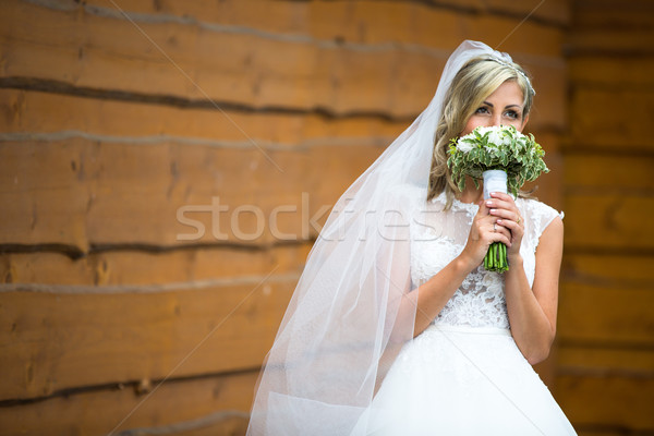 Portrait of a gorgeous young bride on her wedding day  Stock photo © lightpoet