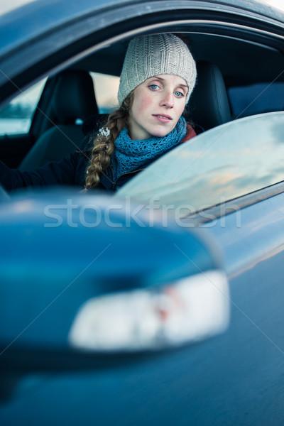 Woman driving a car - female driver at a wheel of a modern car,  Stock photo © lightpoet