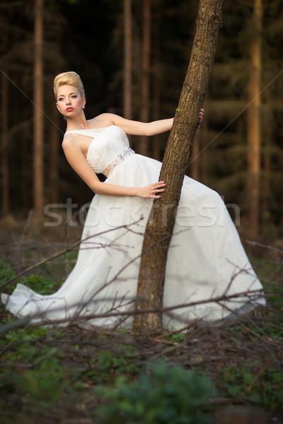 Braut Freien Wald Mädchen Frühling Hochzeit Stock foto © lightpoet