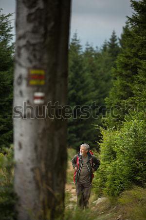 Active senior hiking in high mountains - enjoying his retirement Stock photo © lightpoet
