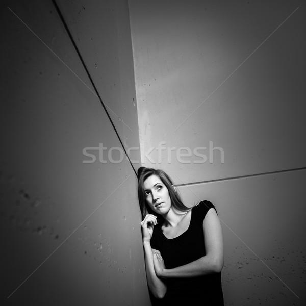 Jonge vrouw lijden depressie verlichting gebruikt shot Stockfoto © lightpoet
