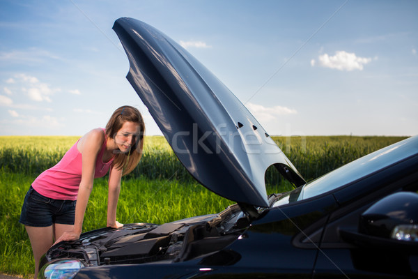 Pretty, young woman by the roadside after her car has broken  Stock photo © lightpoet