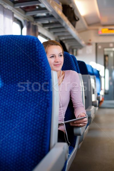 Stockfoto: Jonge · vrouw · trein · business · gelukkig