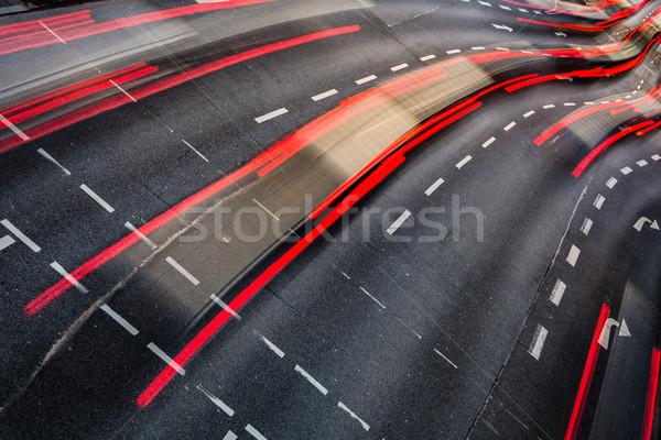 Beweging wazig stad weg verkeer kleur Stockfoto © lightpoet