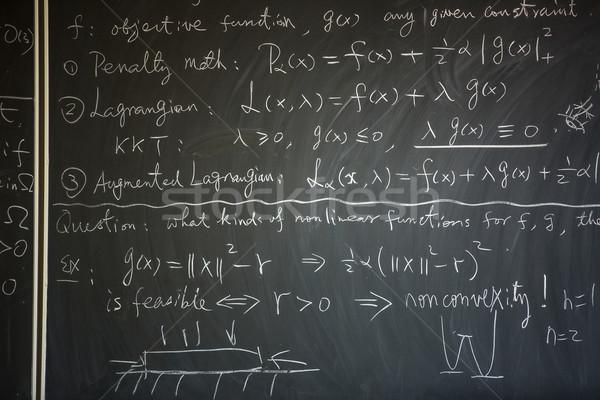 Pizarra matemáticas lección escrito fondo signo Foto stock © lightpoet