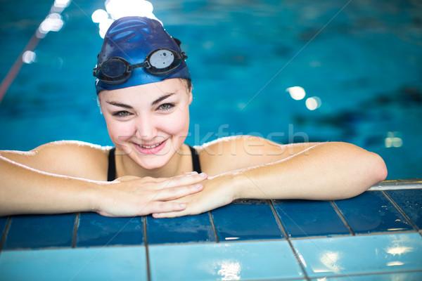 Femminile nuotatore piscina guardando fotocamera Foto d'archivio © lightpoet