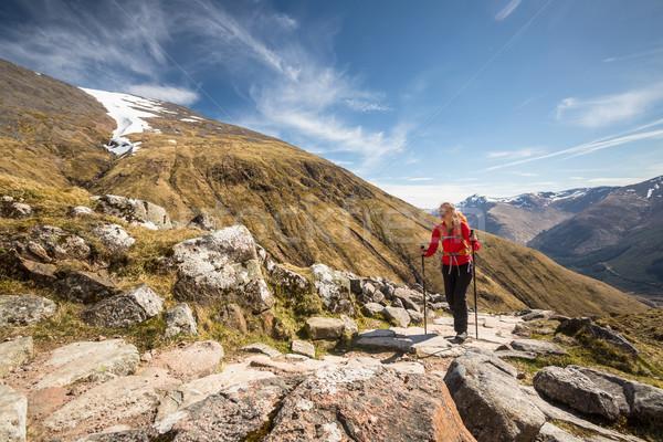Pretty, young female hiker going uphill Stock photo © lightpoet