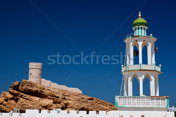 White mosque with minaret against blue sky  Stock photo © lightpoet